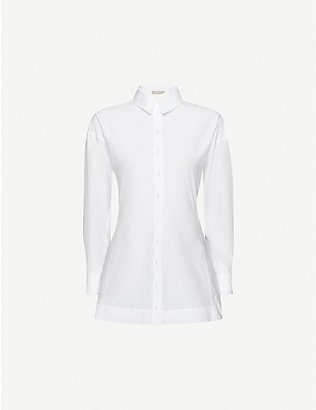 AZZEDINE ALAIA: Collared cotton-poplin shirt