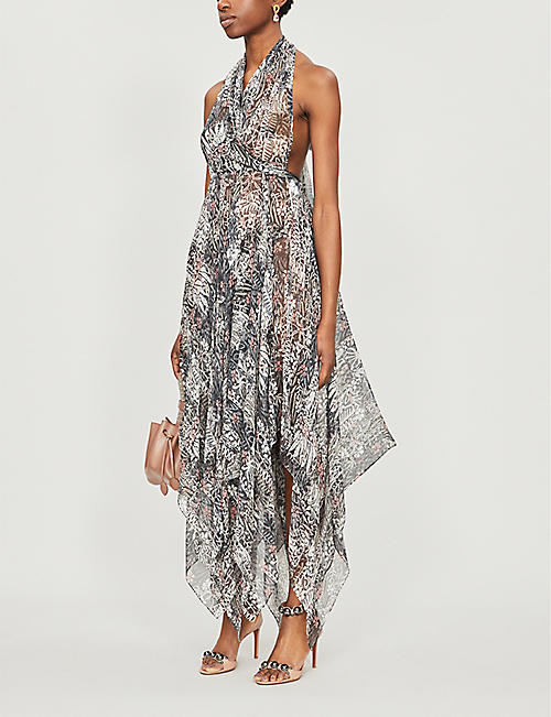 AZZEDINE ALAIA Abstract-print halter-neck silk dress