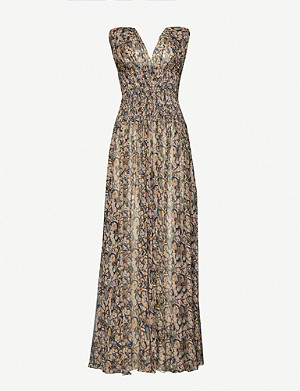 AZZEDINE ALAIA Abstract-print silk-crepe maxi dress
