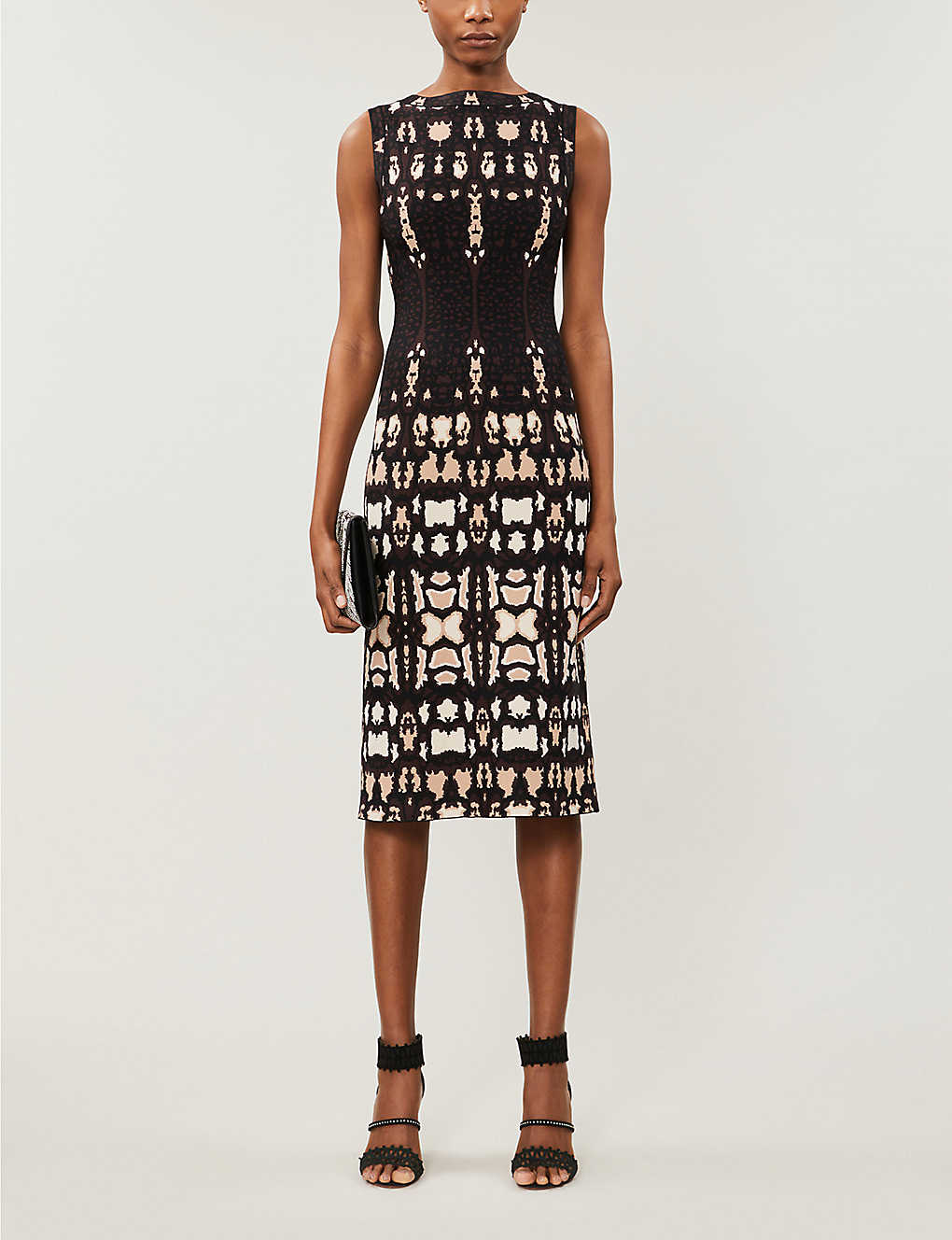 AZZEDINE ALAIA: Graphic-pattern stretch-knit midi dress