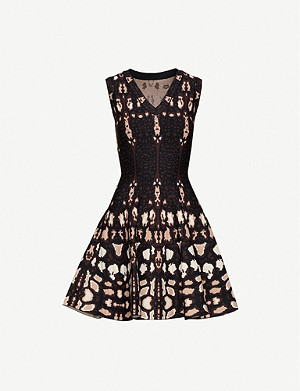 AZZEDINE ALAIA Graphic-print stretch-knit mini dress