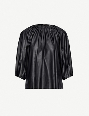 FRANKIE SHOP Gathered faux-leather top