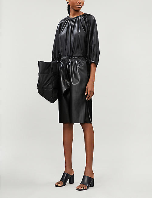 FRANKIE SHOP Drawstring-waist faux-leather shorts