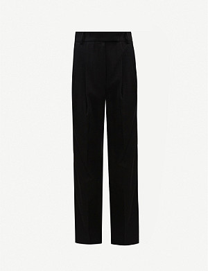 FRANKIE SHOP Bea high-rise tapered stretch-twill trousers