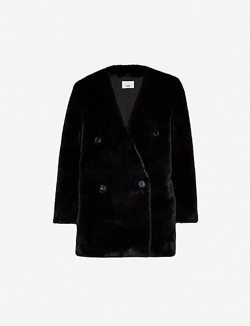 FRANKIE SHOP Collarless double-breasted faux-fur jacket