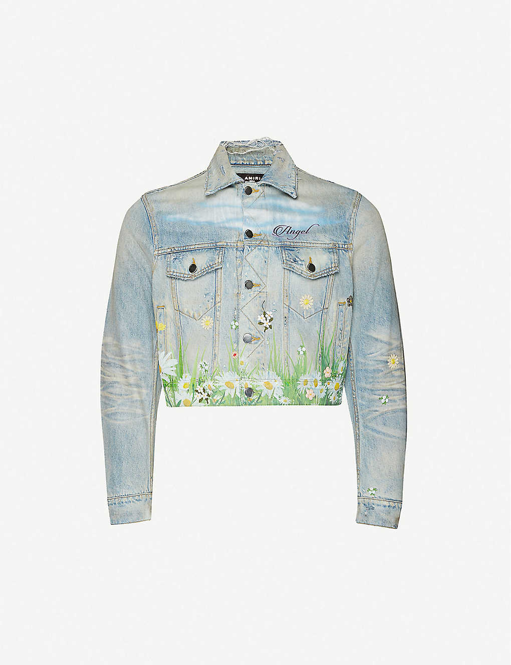 AMIRI: Floral-embroidered denim jacket