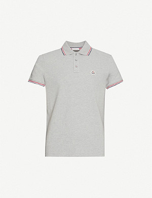 MONCLER Logo-badge cotton-piqué polo shirt