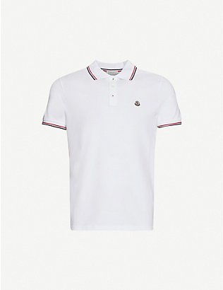 MONCLER: Logo-badge cotton-piqué polo shirt