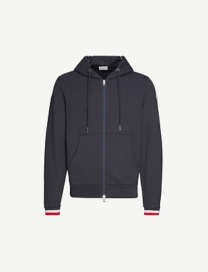 MONCLER Striped-trim zip-up cotton-jersey sweatshirt