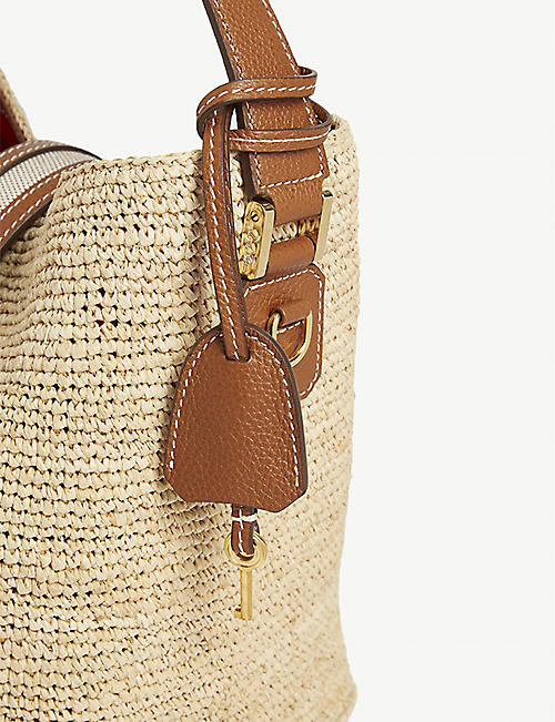MARK CROSS Murphy leather-trimmed raffia bucket bag