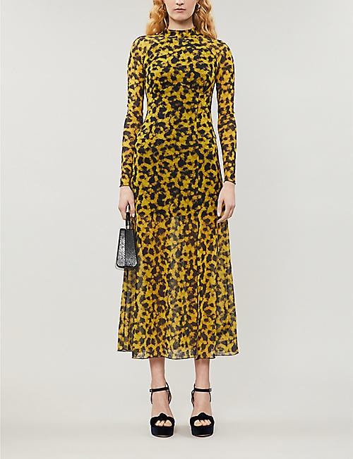 TOPSHOP Smudge tiger-print mesh maxi dress