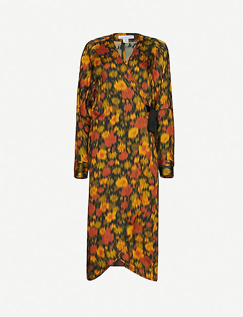 TOPSHOP: Floral-print satin midi dress