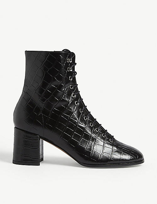 WHISTLES Alban croc-embossed leather ankle boots