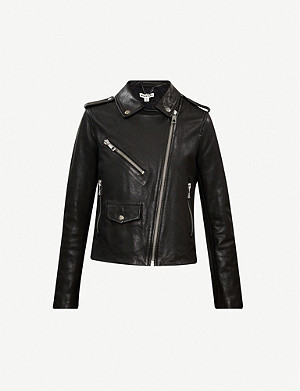 WHISTLES Agnes zip-through leather biker jacket