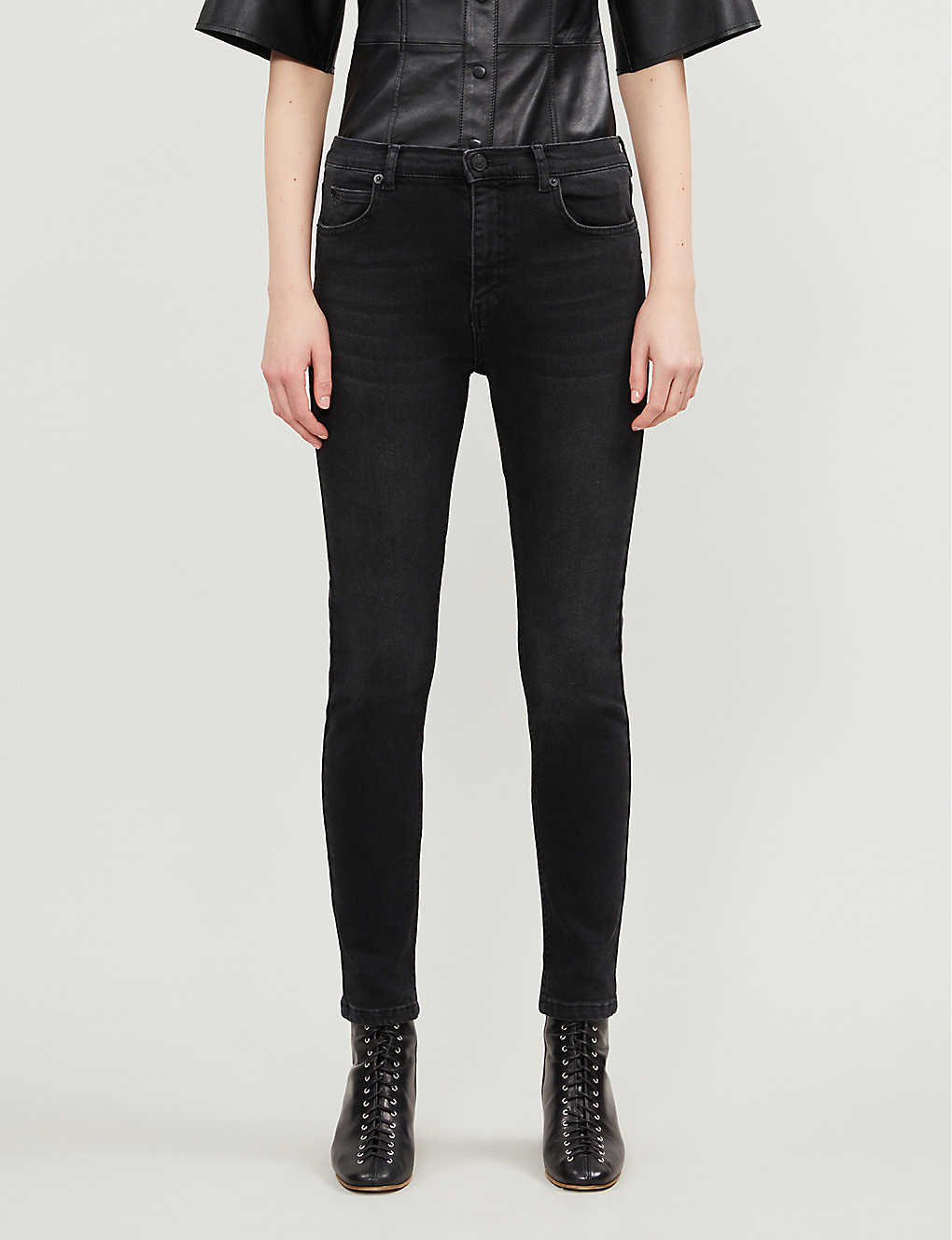WHISTLES: Sculpted high-rise stretch-denim jeans