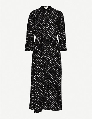 WHISTLES: Selma polka-dot crepe dress