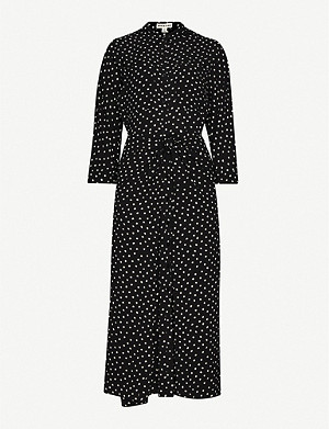WHISTLES Selma polka-dot crepe dress