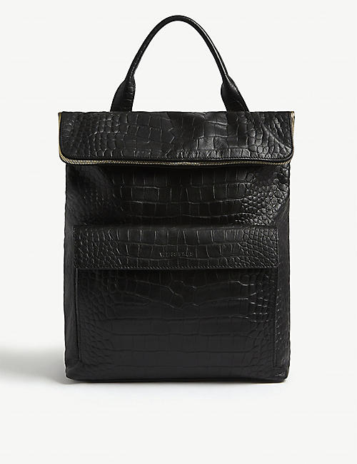 WHISTLES Verity croc-embossed leather backpack