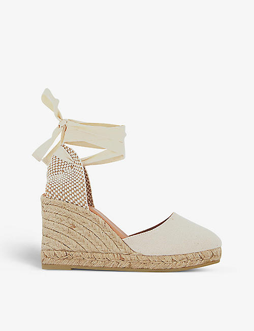 GAIMO: Wrap-around canvas espadrille wedge sandals