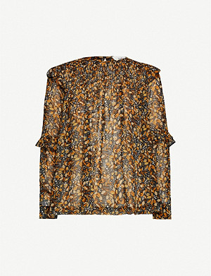 BA&SH Smoky leave-print chiffon blouse