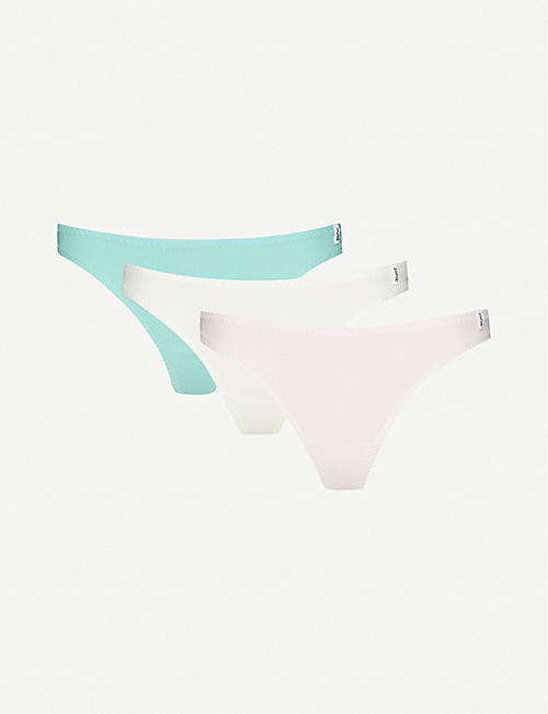 LES GIRLS LES BOYS Ribbed low-rise stretch-cotton thongs pack of three