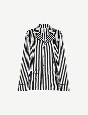 LES GIRLS LES BOYS Striped cotton-poplin pyjama shirt