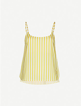 LES GIRLS LES BOYS: Striped cotton pyjama camisole top