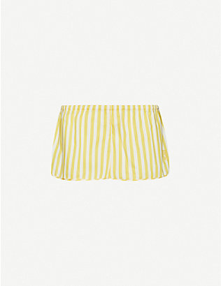 LES GIRLS LES BOYS: Striped cotton-poplin pyjama shorts