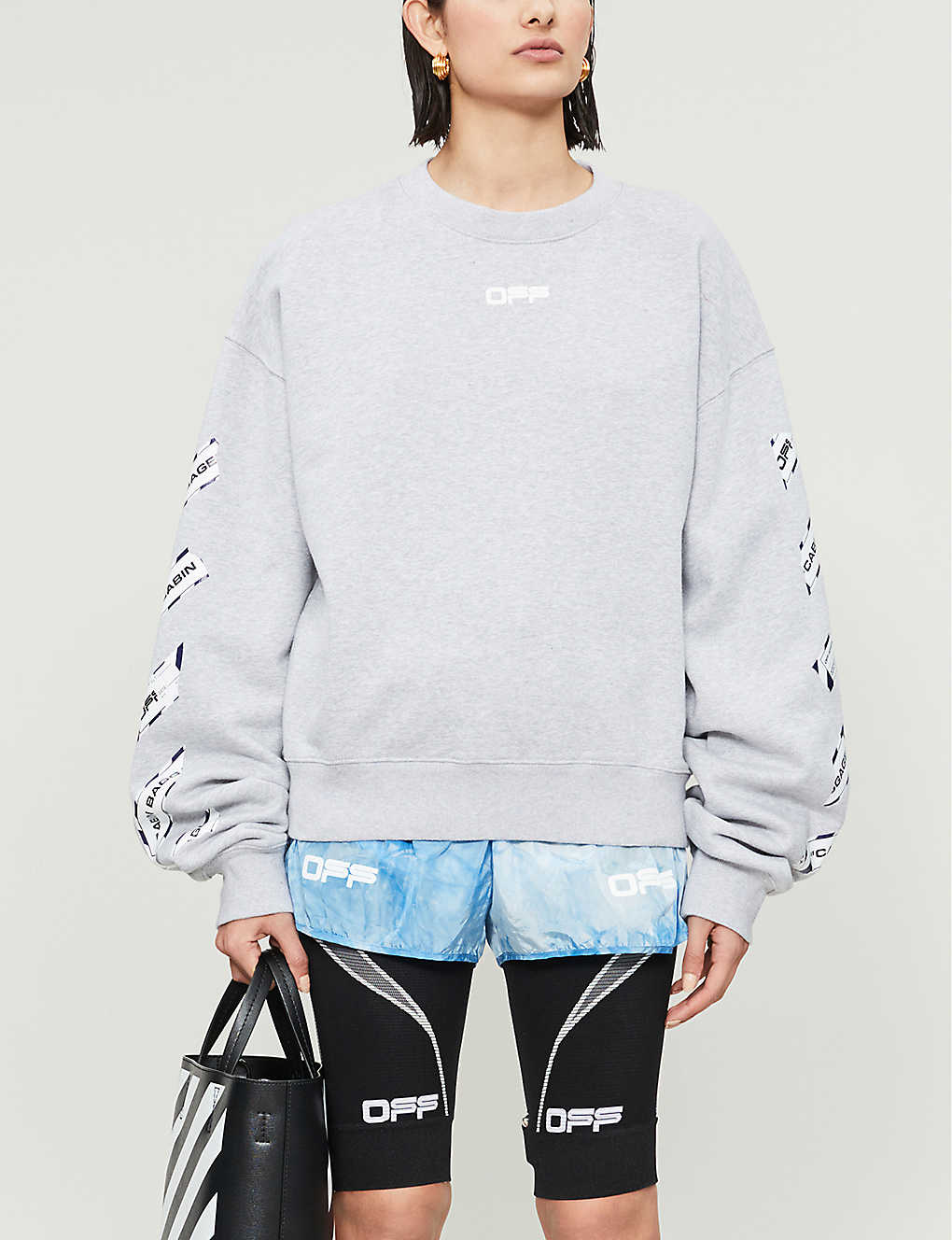 OFF-WHITE C/O VIRGIL ABLOH: Airport Tape-print cotton-jersey jumper