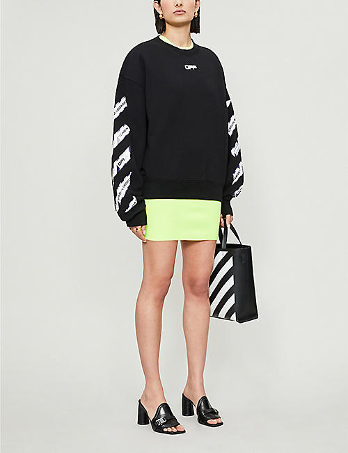 OFF-WHITE C/O VIRGIL ABLOH Airport Tape-print cotton-jersey jumper