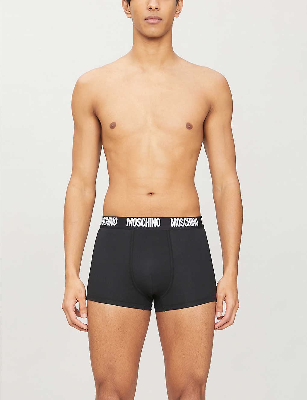 MOSCHINO: Branded-waistband stretch-cotton trunks