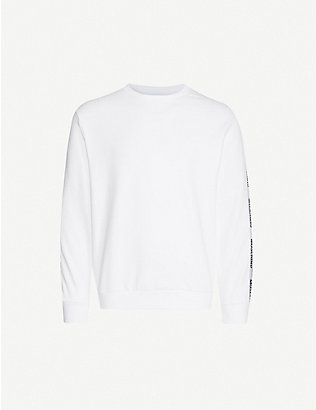 MOSCHINO: Logo-tape cotton-jersey sweatshirt