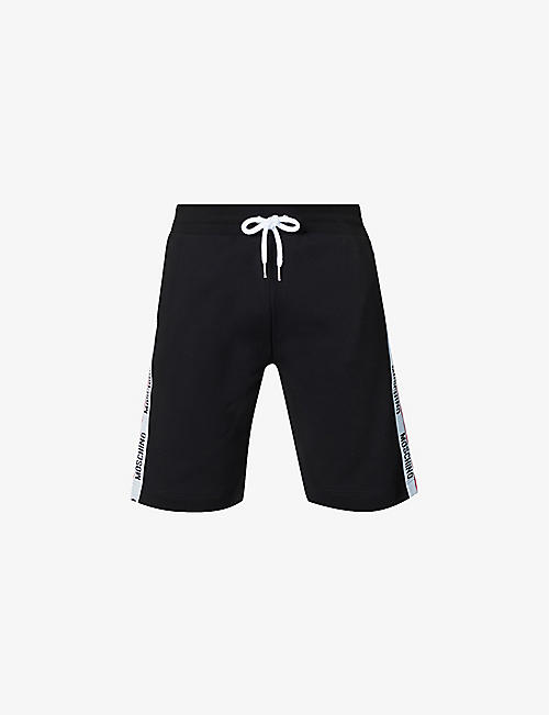 MOSCHINO: Logo-tape stretch-cotton shorts