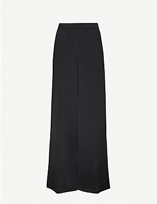 ANINE BING: Romy wide-leg mid-rise stretch-silk trousers