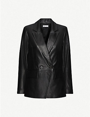 ANINE BING: Grace double-breasted leather blazer