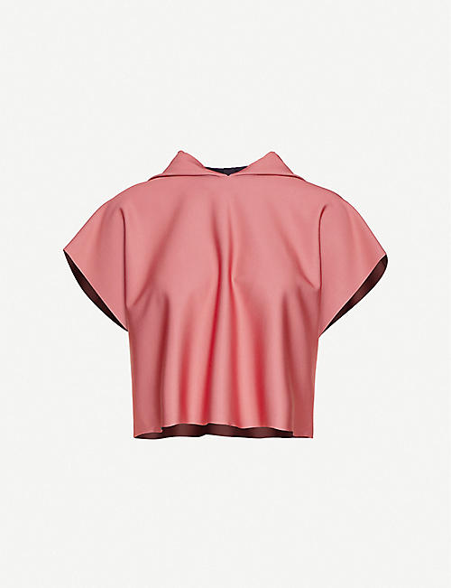 ULTRACOR: Sparrow hooded stretch-crepe top
