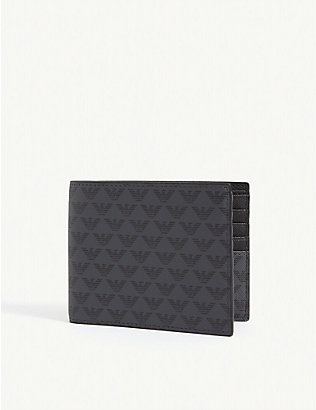 EMPORIO ARMANI: Eagle logo-printed leather wallet