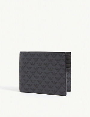EMPORIO ARMANI Eagle logo-printed leather wallet