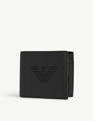 EMPORIO ARMANI Embossed eagle faux-leather wallet