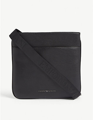 EMPORIO ARMANI: Grained leather messenger bag