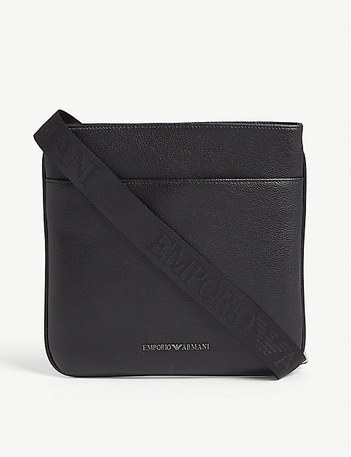 EMPORIO ARMANI Grained leather messenger bag