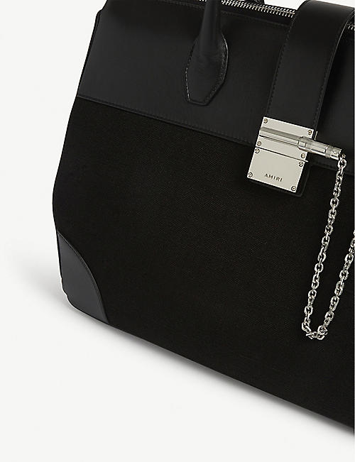 AMIRI Boston leather and canvas tote bag