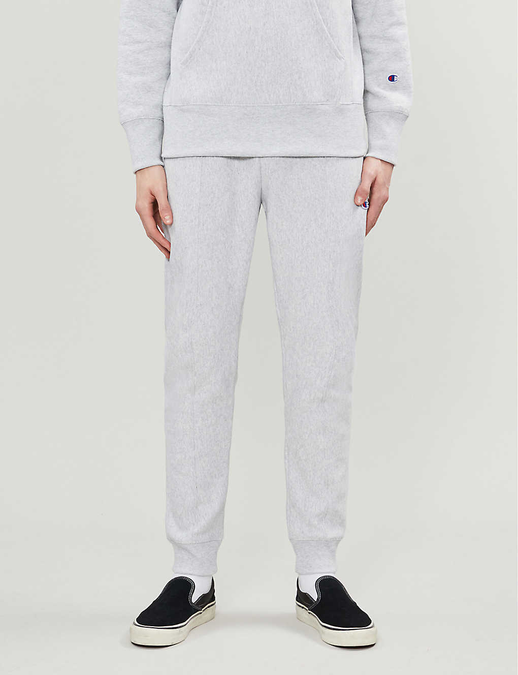 CHAMPION: Logo-embroidered cotton-jersey jogging bottoms