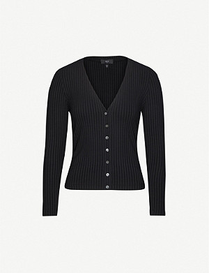 3X1 Ribbed-texture slim-fit stretch-jersey cardigan