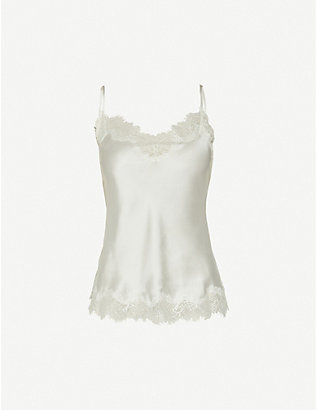 SAINTED SISTERS: Scarlett floral lace-trim satin-silk camisole