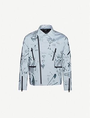 MJB - MARC JACQUES BURTON Reflective graphic-print woven biker jacket