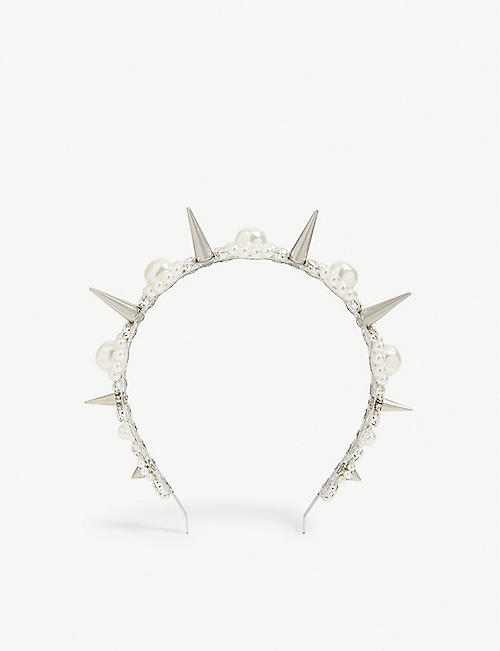 SIMONE ROCHA Pearl crystal and spike embellished headband