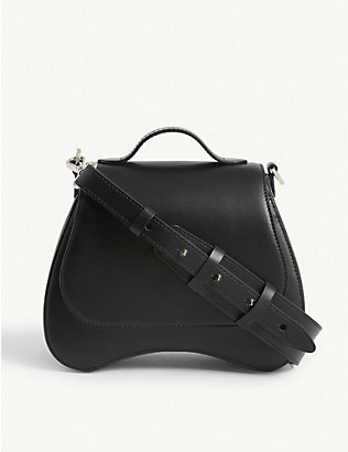 SIMONE ROCHA: Bean floral-embellished mini leather shoulder bag