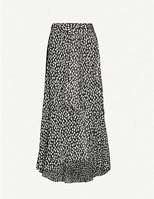 ME AND EM: Polka-dot maxi crepe skirt