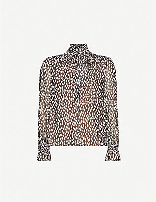 ME AND EM: Large Dot-print crepe blouse